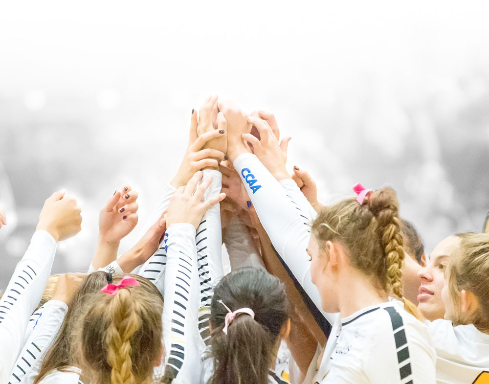Group of Women's Volleyball Players holding hands up in the air